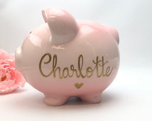 Personalized Hand Painted Piggy Bank Pink Ombre