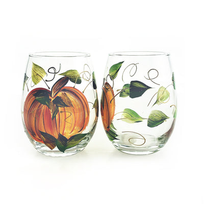 Harvest Pumpkin Hand-Painted Stemless Wine Glass - Set of 2 - 15 ounce
