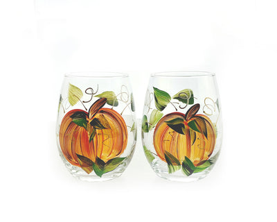 Harvest Pumpkin Hand-Painted Stemless Wine Glass - Set of 2