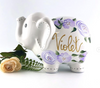 Hand Painted Elephant Piggy Bank with lavender boho flowers