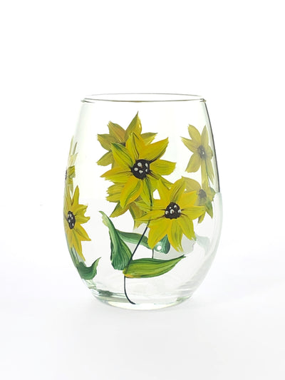 Stemless Wine Glasses - Set of 4 Glasses - Rose Buds  Sunflower, Lavender, Daisies  Glassware