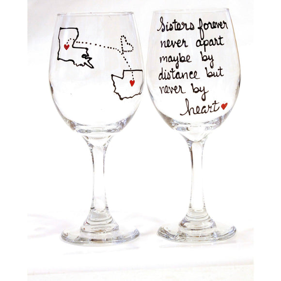 sister long distance wine glass