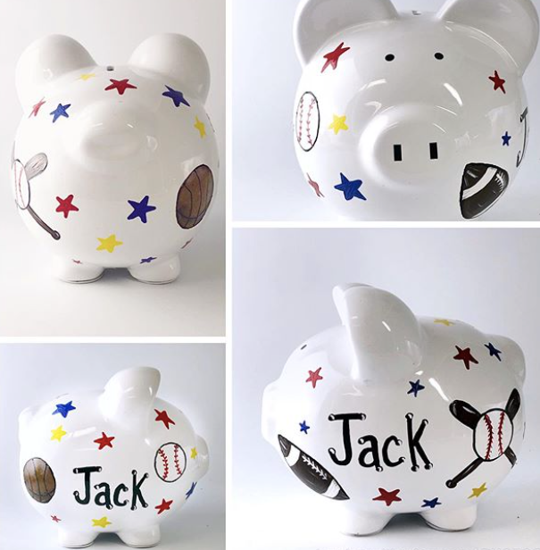 Sports Piggy Bank Featuring Basketball- Football and Baseball  Large Personalized