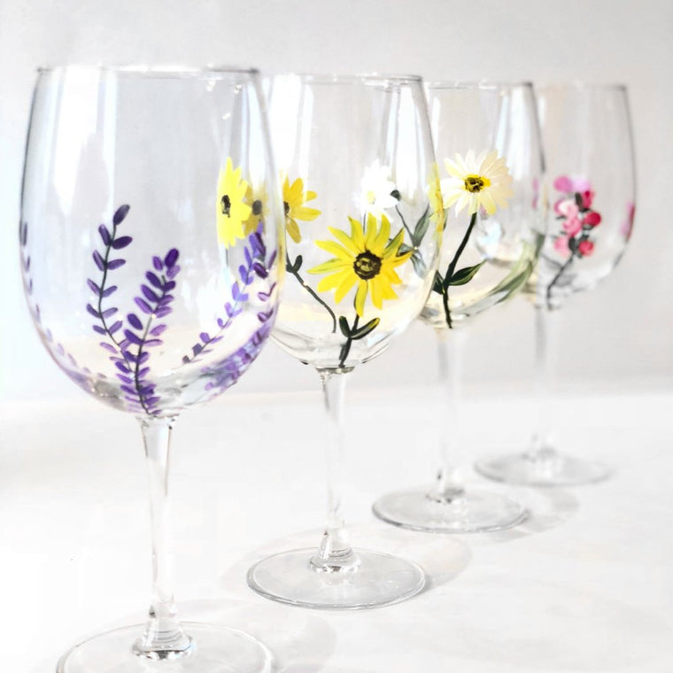 Mother's Day Bouquet Wine Glass Set of 4