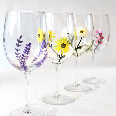 Mixed Flower Wine Glasses, Set of 4, Stemmed Wine Glasses
