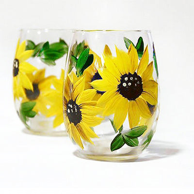 Sunflower Wine Glasses  Hand Painted Set of 2- 15 oz, Stemless it stemmed