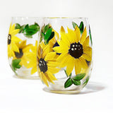 Sunflower Wine Glasses -  Hand Painted 11 oz. Stemless or Stemmed