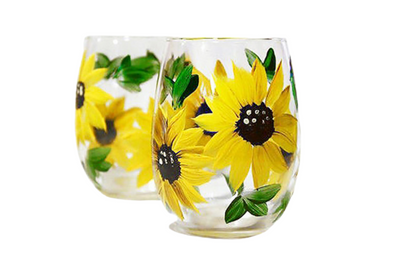 Sunflower Wine Glass Hand Painted Stemless Set of 2