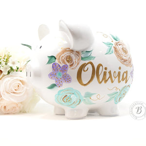 Personalized Piggy Bank Purple and Teal Flowers - Hand Painted Ceramic