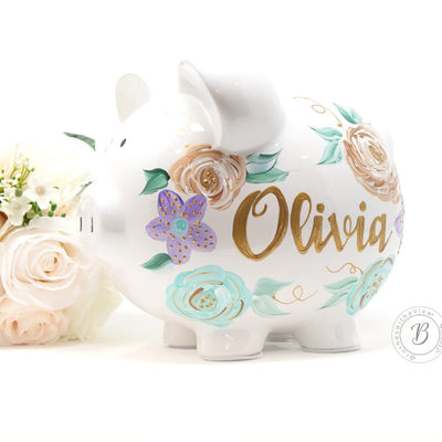Baby Girl Purple Flowers Personalized Piggy Bank Hand Painted