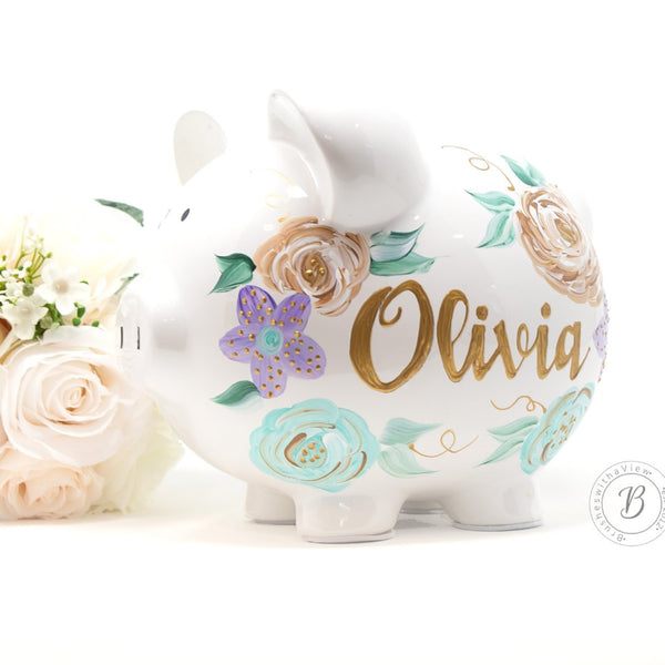 new baby hand painted piggy bank