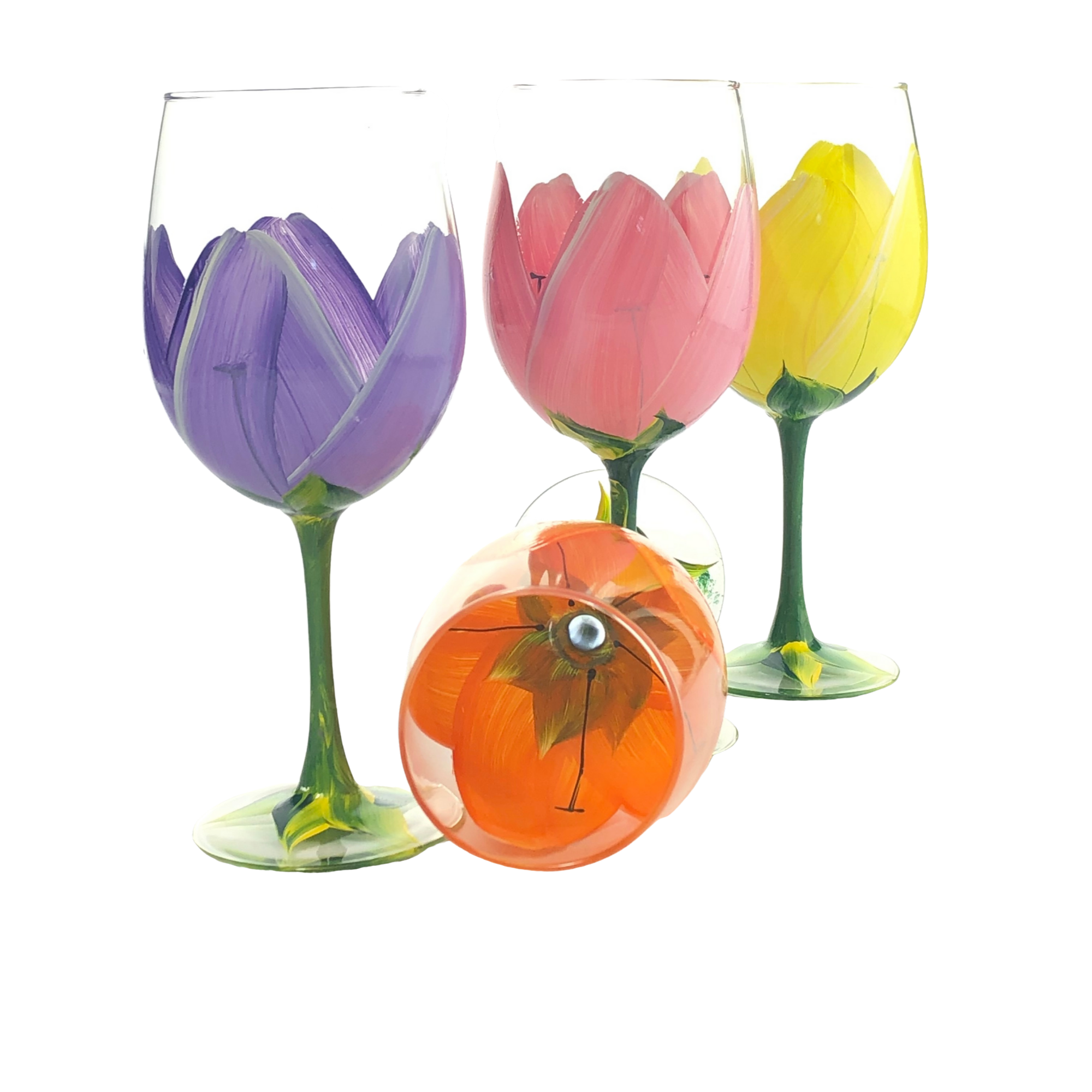 Hand Painted Floral Wine Glasses, Set of 4 Stemmed Wine Glasses, Tulips Flowers