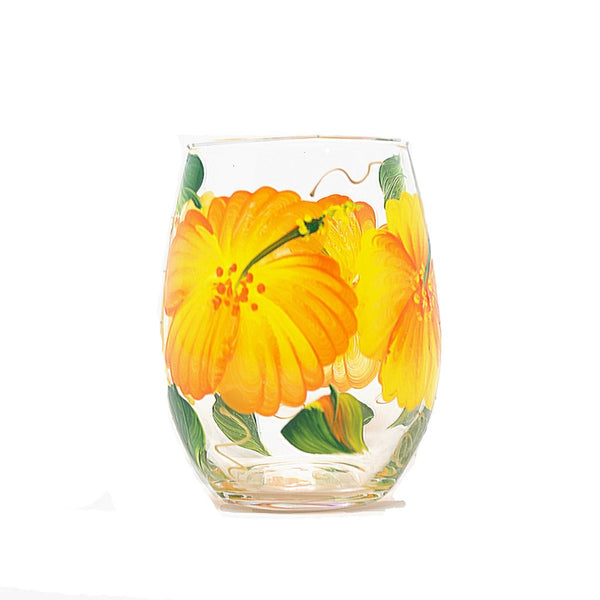 hand painted hibiscus flower wine glass
