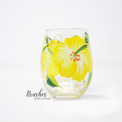 Yellow Hibiscus Hand painted Stemless Wine Glass, 11 oz.