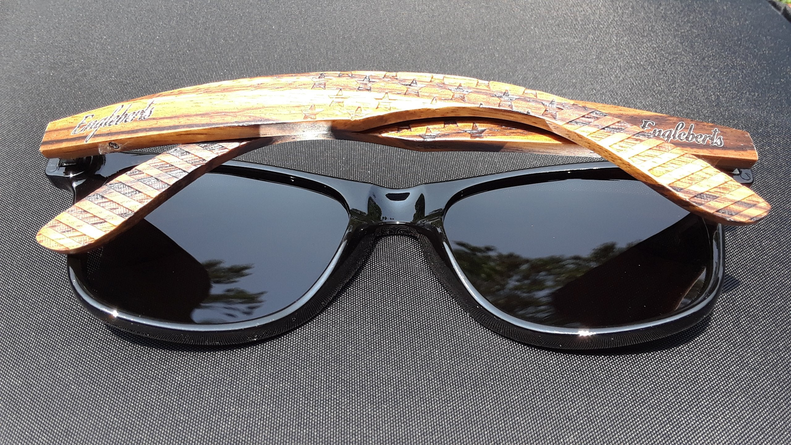 Zebrawood Sunglasses, Stars and Bars With Wooden Case, Polarized