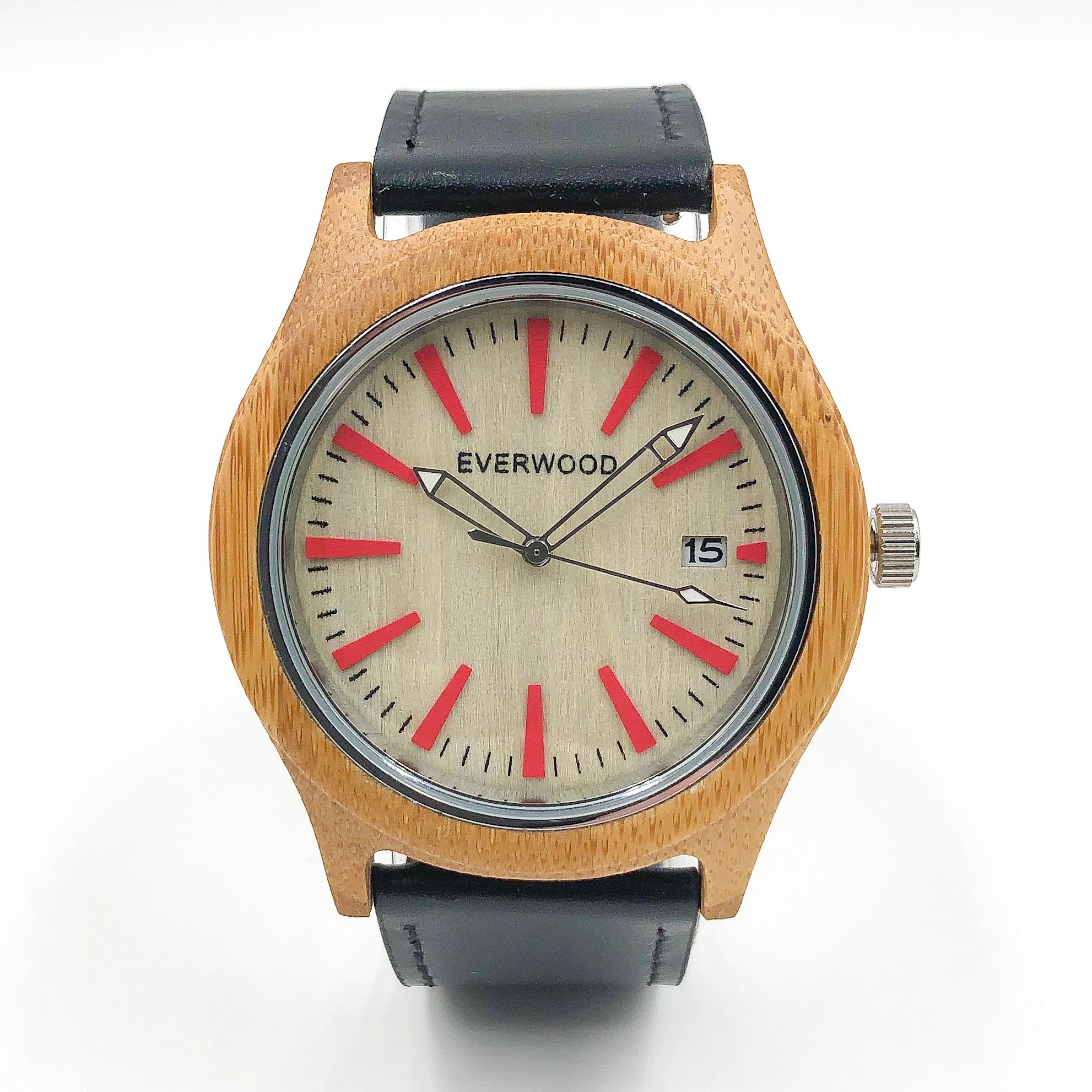 Kylemore  Bamboo Black Leather Watch