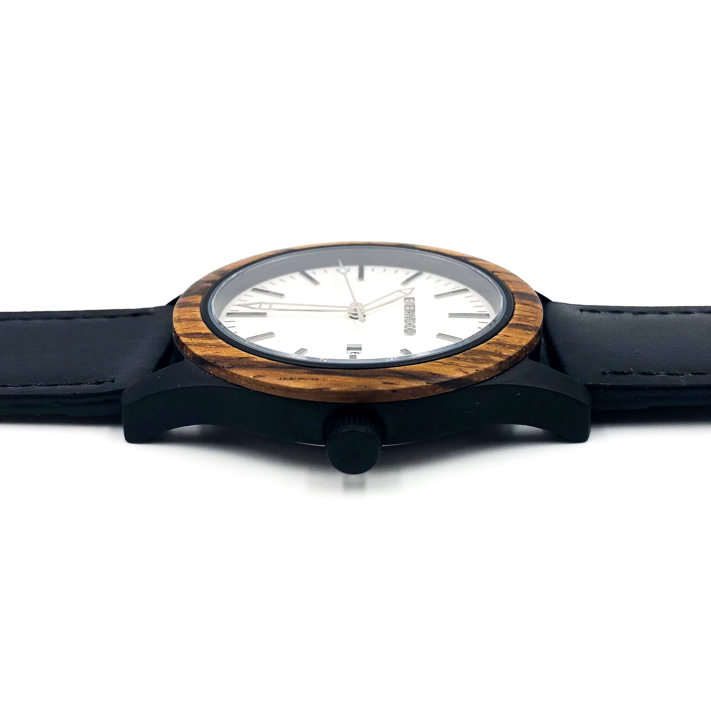 Inverness  Zebrawood Black Leather Watch