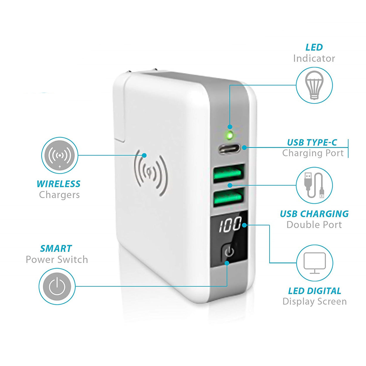 Multi-Power Brick w/ Wireless Charger and Stored Power