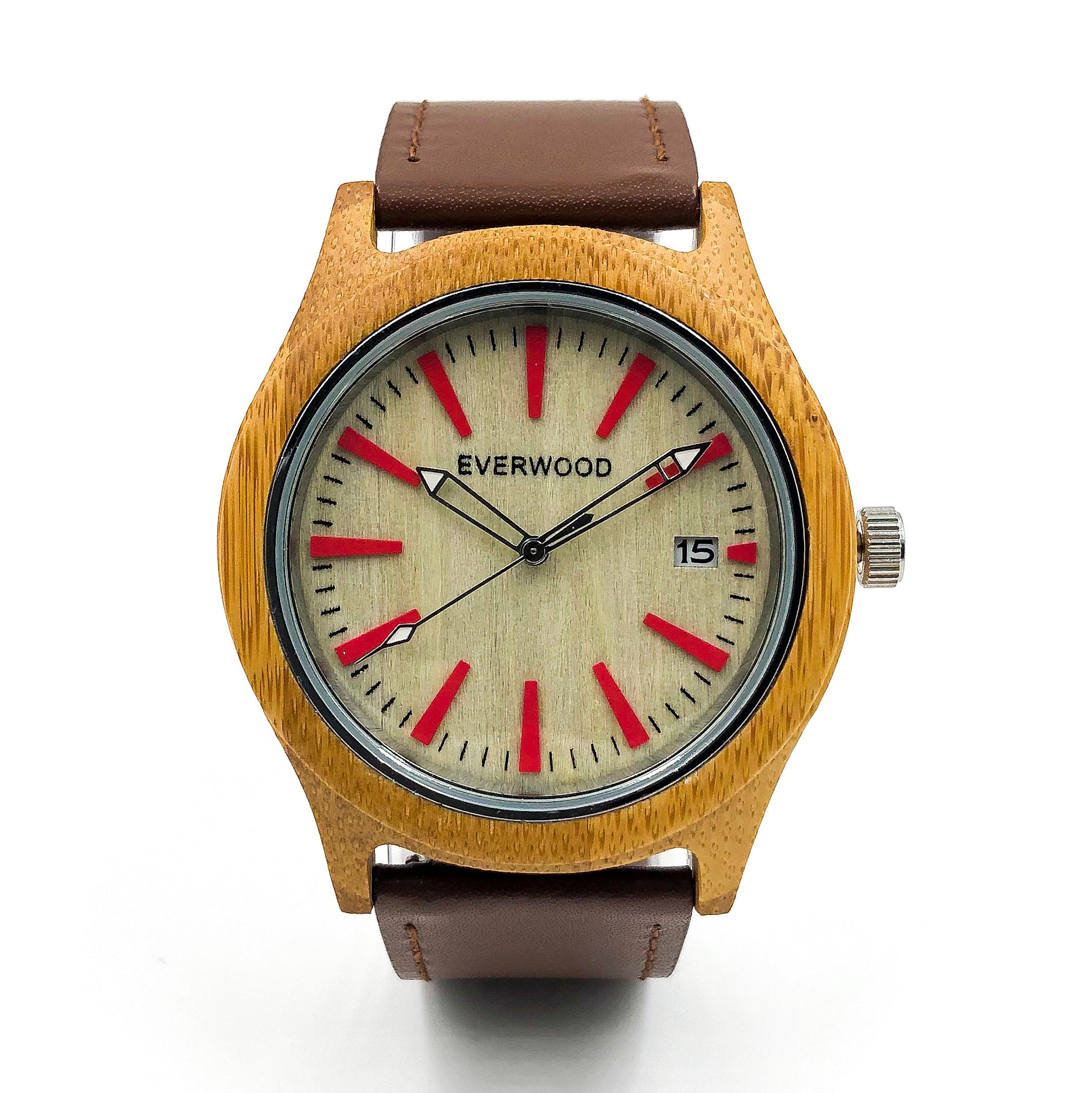 Kylemore Bamboo Brown Leather Watch