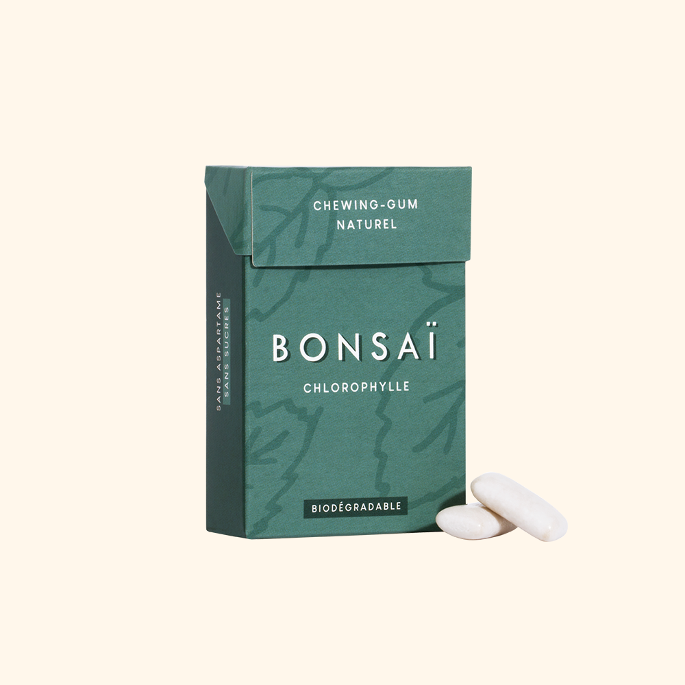BONSAÏ - chewing-gum biodégradable sans plastique - Saveur chlorophylle - Lot de 3