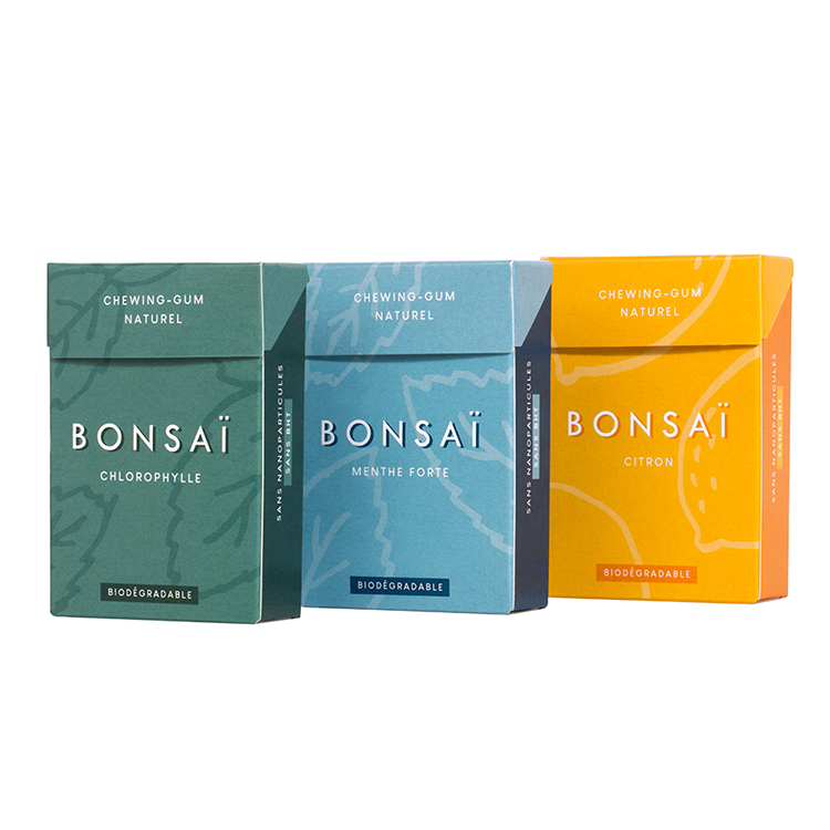 BONSAÏ - chewing-gum biodégradable sans plastique - Saveur citron - Lot de 3