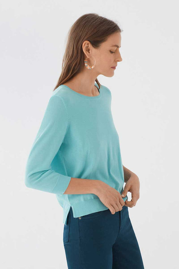 Pullover Basic Round Neck Sweater Hell Blau