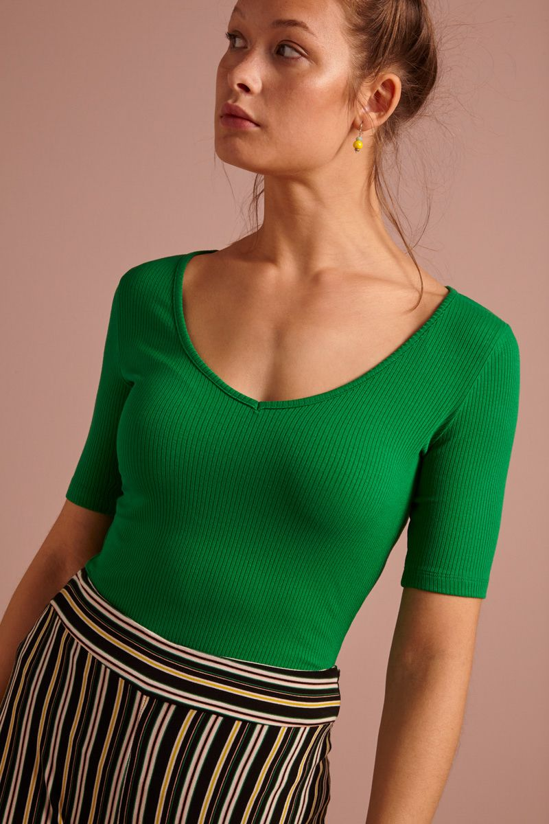 Carice V Top Tencel Rib Very Green von King Louie