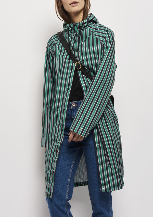 Magpie Striped Rainjacket Pepper Green von Beck Söndergaard