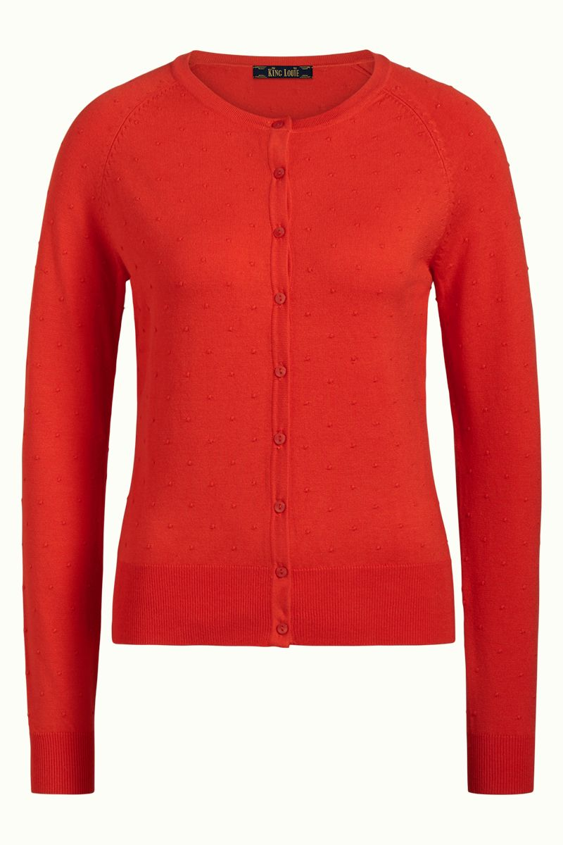 Cardi Raglan Roundneck Droplet Fiery Red von King Louie