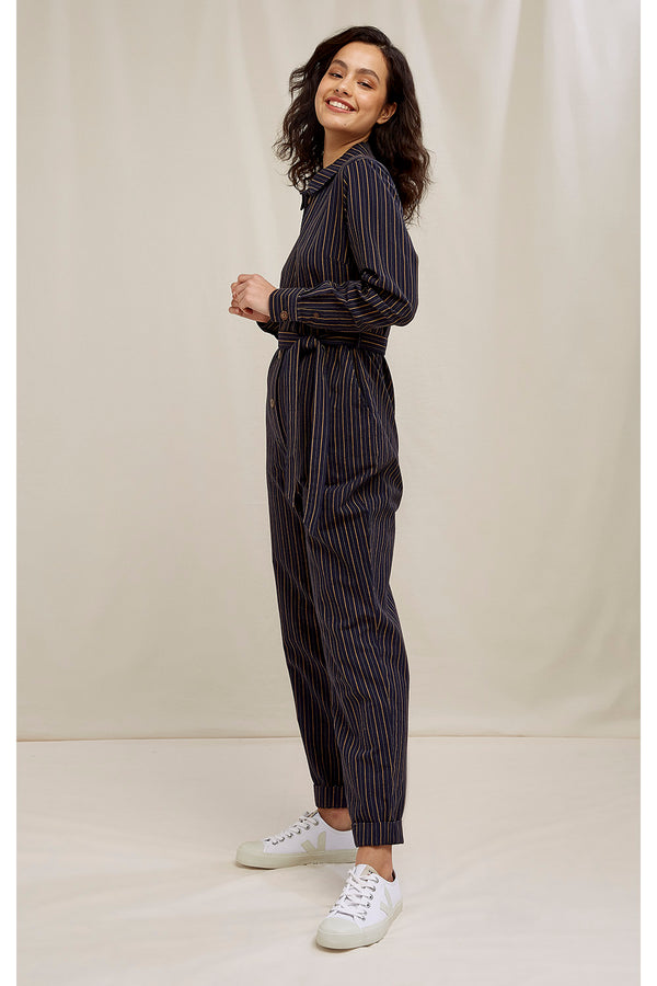 Anisa Striped Jumpsuit Navy Multi von People Tree