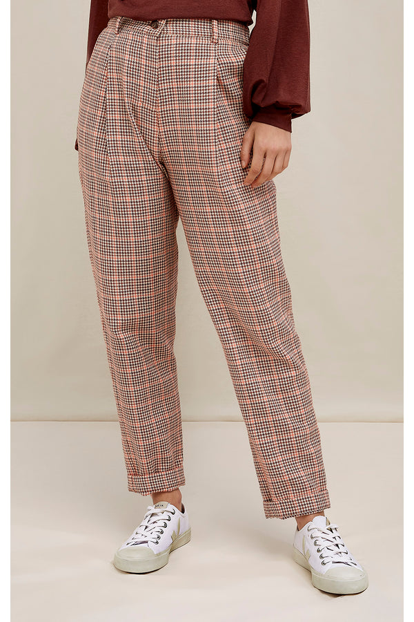 Annis Houndstooth Trousers Brown Muti von People Tree