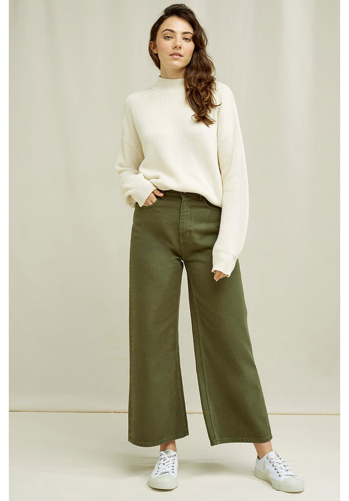 Ariel Wide Leg Jeans Khaki von People Tree