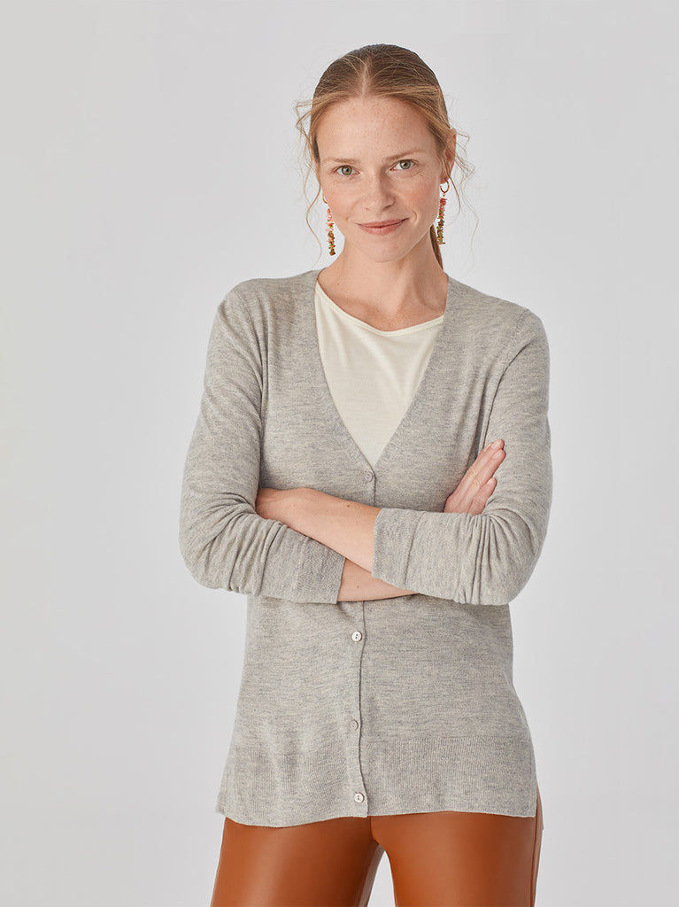 Basic Long Cardigan Grey Melange Nice Things