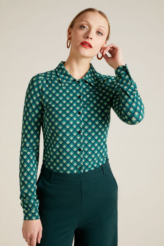 Blouse Pose Dragonfly Green von King Louie