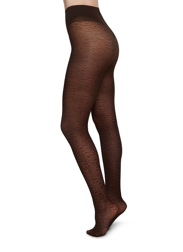 SWEDISH STOCKINGS Emma Leopard Tights 60 Denier Dark Brown