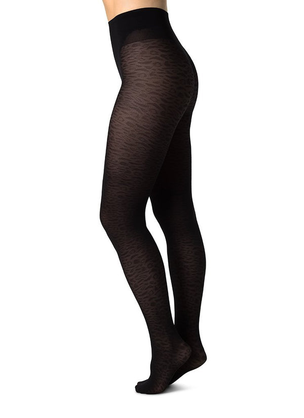 SWEDISH STOCKINGS Emma Leopard Tights 60 Denier Black