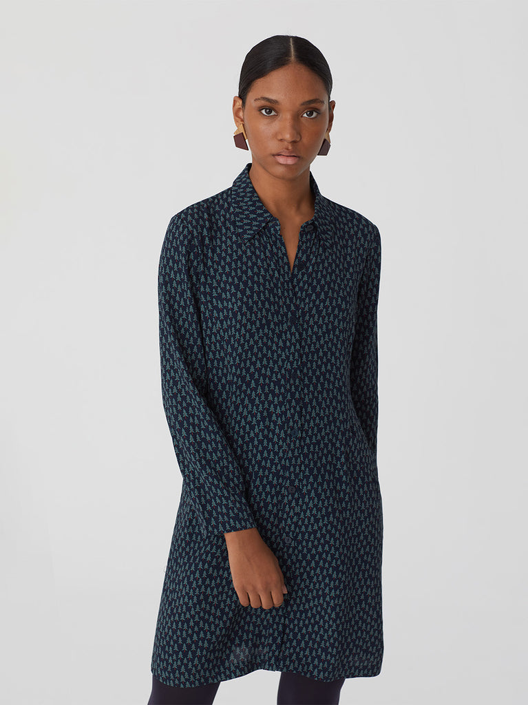 Fir Forest Print Shirt Dress Navy von Nice Things