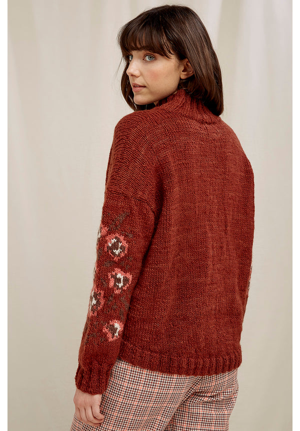 Flower Jacquard Strick Pullover People Tree