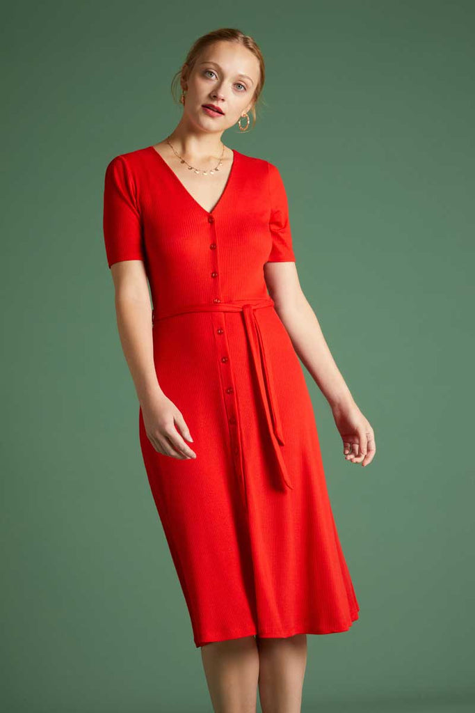 Kleid Erica Dress Rib Tencel Feuer Rot