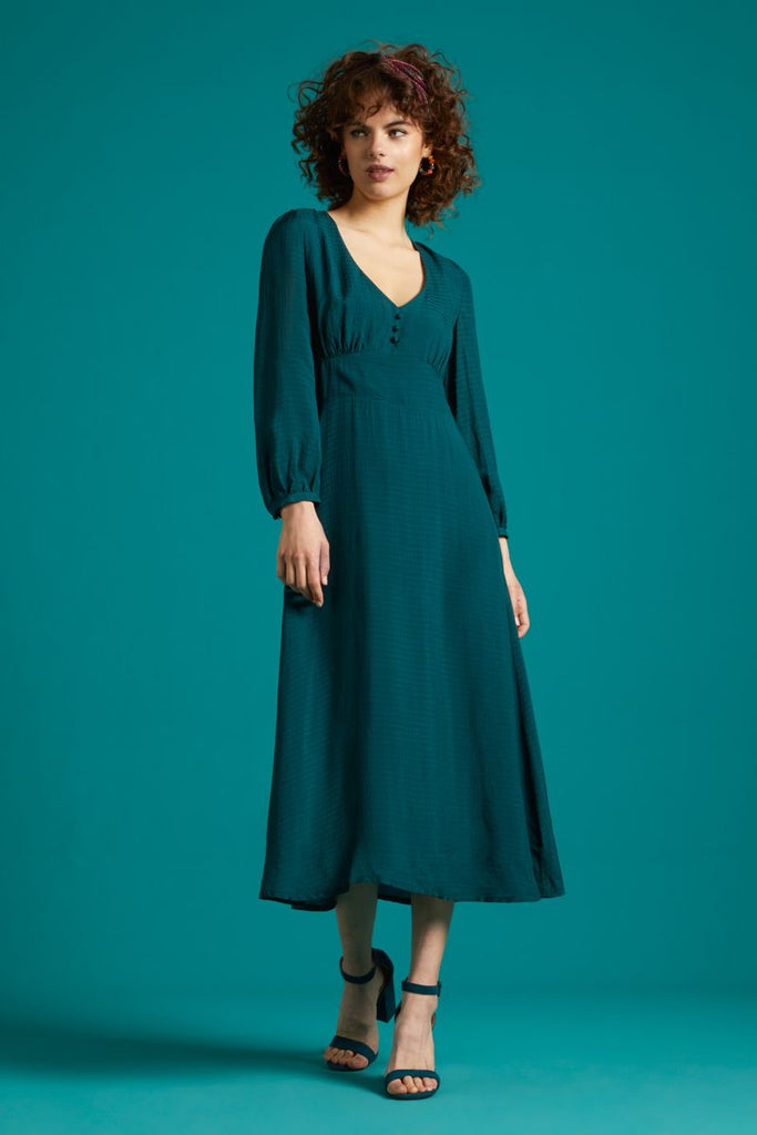 Lynn Bellesleeve Dress Beauvoir Pine Green von King Louie