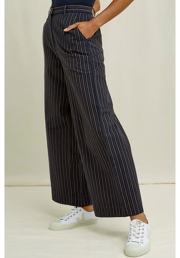 Mila Striped Trousers Navy Multi von People Tree