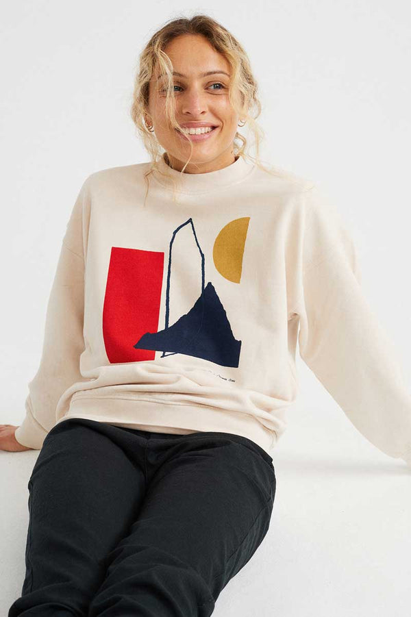 Creme-farbener Pullover Abstract Print Sweatshirt von Thinking Mu Bild 2