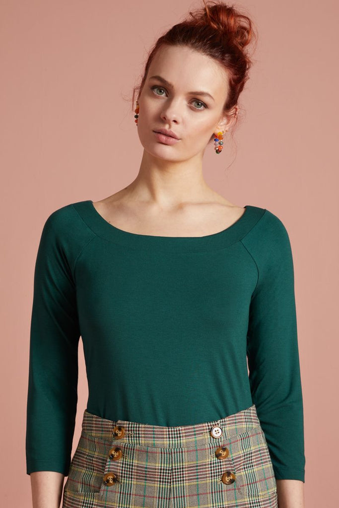 Sarah Top Viscose Lycra Pine Green von King Louie