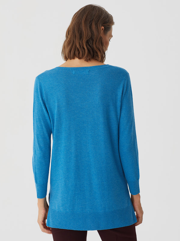 V-neck Basic Sweater Medium Blue Nice Things