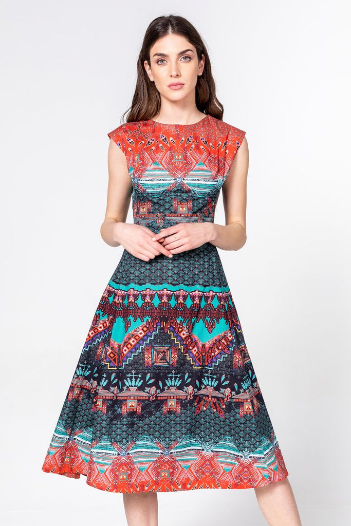 Dress with Geometric Print Cotton von Ivko
