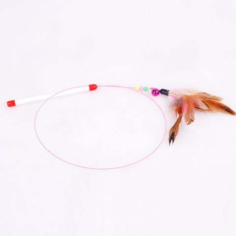 Pet Cat Ribbon Rope Toy made from Feather with Attractive Kitten Bell