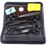 Professional Pet Grooming Kit (4 pcs) Thinning and Curved Scissors BLACK