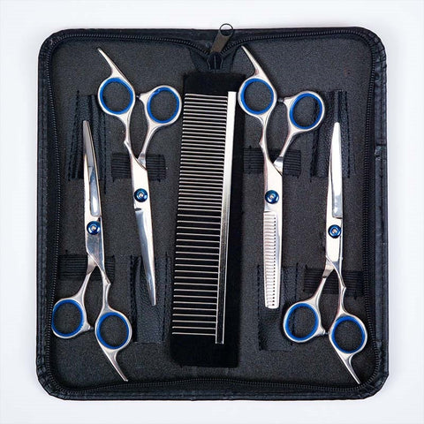 7 inch Pet Grooming Scissors Set Straight Curved for Dog Cat Kit Hair Thinning Shears
