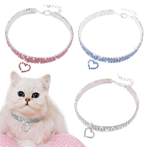 Pet Crystal Heart Shaped Crystal Diamond Decoration Dog Collar Kitten Necklace Pet Pendant