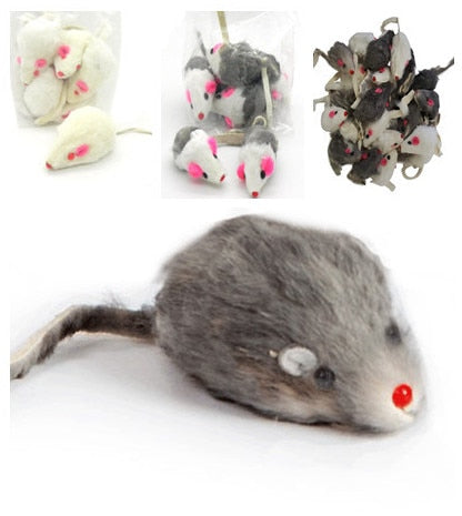 Mice Toys Mouse Real Fur Mixed Loaded Toys Black and White for Pet Cat Kitty Kitten with Sound Squeaky Toys for Cats